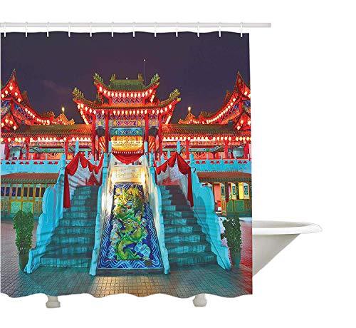 Yeuss Home Decor Collection, bunter ethnischer Tempel mit Laternen bei Nacht-Feier-Glück-asiatischer Szenen-Wandgestaltung, Polyester-Badezimmer-Duschvorhang, Multi