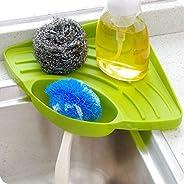 Inditradition Multipurpose Kitchen Sink Organizer Corner Tray (Large, Green, Plastic)