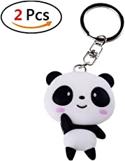 Fancyku Cute Silicone Panda Pendant Keychain(White and Black) - Pack of 2