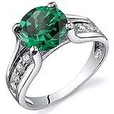 Revoni Solitär Stil 1.75 Karat Smaragd Ring in Sterling-Silber 925 Rhodium Politur