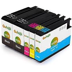 Gohepi 932XL/933XL Compatible para Cartuchos de tinta HP 932XL 933XL, 2 Negro/Cian/Magenta/Amarillo Pack de 5 Trabajar con HP Officejet 6600 6700 6700 premium 6100 7612 7110 7610