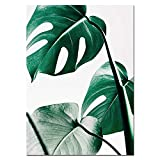 Bild auf Leinwand,Nordic Canvas Painting Modern Prints Plant Leaf Art Posters Prints Green Art Wall Pictures Living Room Unframed Poster,20x30cm No Frame