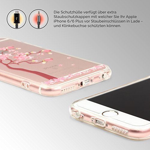 "[TREND] Original Urcover® Apple iPhone 6 Plus / 6s Plus (5,5 "") TPU Case Durchsichtig mit Muster Schutzhülle Cover Silikon | Deutscher Fachhandel | Mandala Schwarz Baum Rosa"