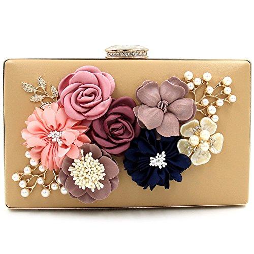 BLOOMSTAR Damen Satin Blume Abend Handtasche Clutch Perle Perlen Dinner Bag Gold