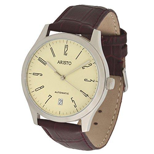 'aristo bauhaus dessau model 4h128genuine leather bracelet swiss eta 28242watch movement 5atm