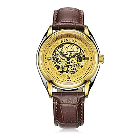 Binlun Business Man Attractive All 18K Gold Plating Skeleton Dial Analog Display with Black Calfskin Strap, Diameter 38''
