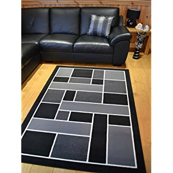 Trend Black And Silver Grey Square Design Rug. 8 Sizes Available (120cm x 170cm)