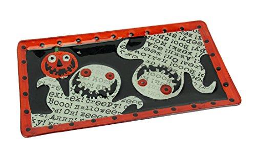 (Transpac Glas Halloween Decor Handbemalt Halloween Ghost Glas Platte Servierplatte 38,7x 1,9x 21cm farbenreiche)