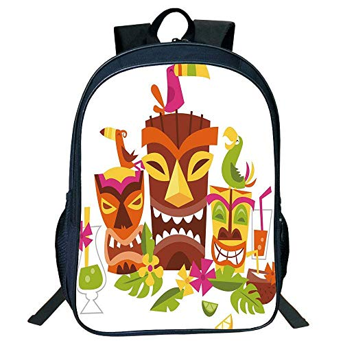 HOJJP Schultasche Stylish Unisex School Students Black Luau,Three Grimacing Tiki Party Masks Surrounded Leaves Drinks Cute Toucan Birds,Multicolor Kids,