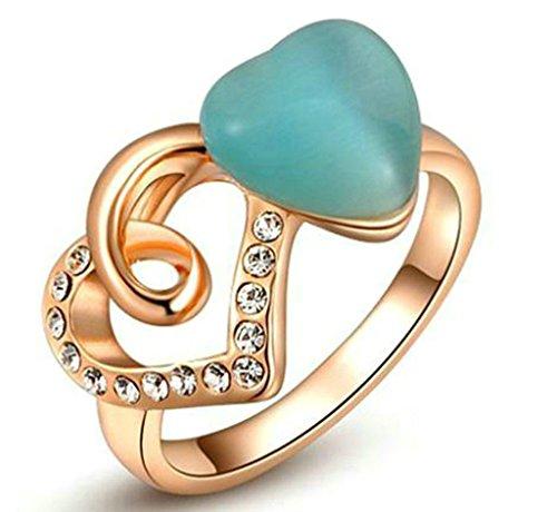amdxd Jewelry Damen-Verlobungsring vergoldet Ringe Rose Gold Double Herz Form Rubby Größe L (Ruby Tiara Herz)