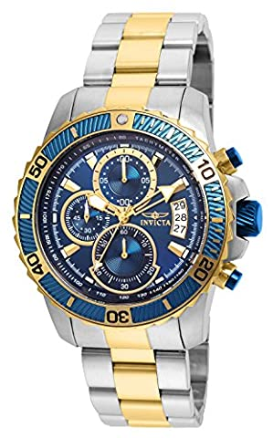 INVICTA Pro Diver Men's Quartz Watch with Blue Dial Chronograph Display and Two Tone Plated Stainless Steel Bracelet -