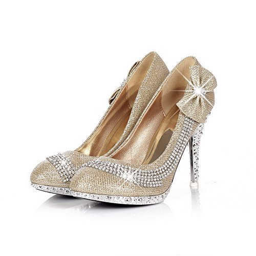 Adee Femme Strass polyuréthane Pompes Chaussures Or - doré