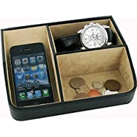 Gents Ladies Black PU Desk Tidy Valet Coin Jewellery Tray With Velvet Lining