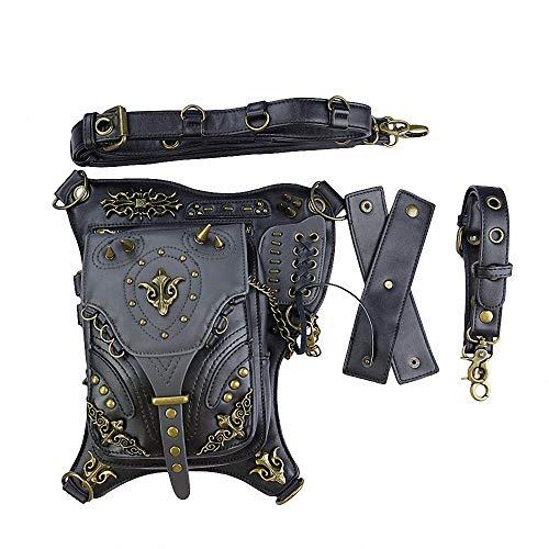 Frauen Rucksack Gothic Punk Diagonal Cross Bag Leder Reise Outdoor Motorrad Bike Multi-Function Tactical Pockets ()