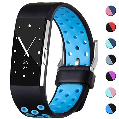HUMENN Armband Für Fitbit Charge 2, Zwei-Farben Weich Silikon Ersatzarmband Smartwatch Sport Band für Fitbit Charge 2 Herzfrequenz Fitnessaufzeichnung, Groß Schwarz/Blau