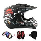 Motorradhelm Cross Helme Schutzhelm Motocross Helm für Motorrad Crossbike Off Road Enduro Sport mit Handschuhe Sturmmaske und Brille 58-59CM (Skelett Schwarz)