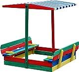 Andrewex Sandkasten 110 x 110 cm mit absenkbarem Dach und mit Sitzbank mehrfarbig aus Holz Kinder Spielplatz