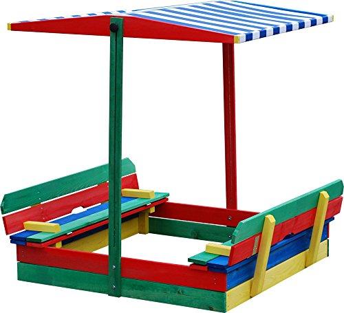 Preisvergleich Produktbild Andrewex Sandkasten 110 x 110 cm mit absenkbarem Dach und mit Sitzbank mehrfarbig aus Holz Kinder Spielplatz