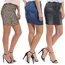 Juego de 3Slim Mini de aspecto Rock Shapewear Blue Jeans Leo negro azul Body Former Minifalda 34/3638/40y 42/44