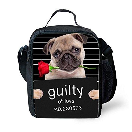 Showudesigns nero stampa animale cane Tote bag pranzo pranzo per donne e ragazze, Poliestere, color 6, small color 2