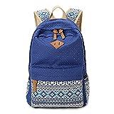 Leinwand Druck Frauen Rucksack Vintage Laptop Rucksack Weiblichen Bagpack Schultasche Für Teenager Mädchen Student Bookbag Blue
