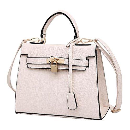 NiSeng Damen Schultertasche PU Leder Handtaschen Vintage Umhänge Tasche für Frauen Weiß