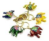 Ein Set von 5Schöne handgeschnitzt Holz Elefant Schlüsselanhänger, Schlüsselanhänger, Schlüsselhalter Schlüsselanhänger