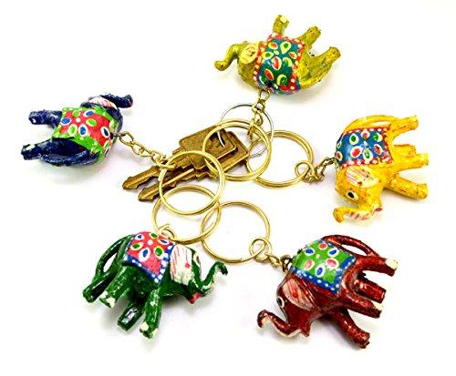 Un conjunto de 5hermosa mano tallada madera Elefante llavero, llavero, titular de la clave llavero
