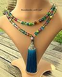 Halskette Perlenkette bunt lang mit Tassel Quaste türkis auf Nylonfaden, Gesamtlänge: ca. 106 cm