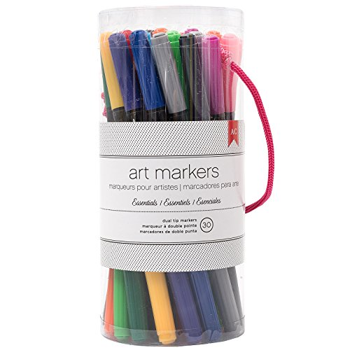 American Crafts Art Marker Value Pack Double-Tipped Markers - Assorted Colors, 30 Piece Set -