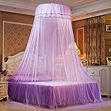 iBaste Moskitonetz Prinzessin Hängende Runde Spitze Baldachin Bett Netting Comfy Student Dome Moskitonetz für Kinderbett Twin Full Queen-Bett (Violett)