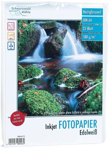 """Schwarzwald Mühle Druckerpapier: 25 Bl. Hochglanz-Fotopapier """"Edelweiß"""" 180g/m² A4 (Photo Papier)"""