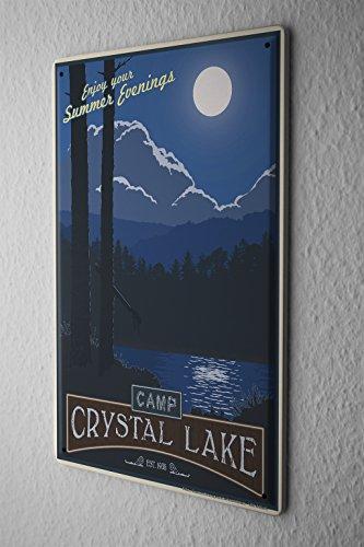 Blechschild Welt Reise Camp Crystal Lake Sommerabende Mond Wand Deko Schild 20X30 cm Camp Crystal Lake