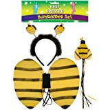 Lizzy ANIMAL EARS BOW TAIL SET Costume Accessory Fancy Dress Party Kids Adults (Bumble Bee)