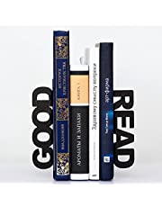 Matchless Iron Good Read Metal Bookends, 6x4x5-Inch, Black