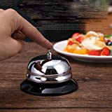 MINGZE Tischglocke Anruf Glocke. Rostfreier Stahl Große Bar Glocke, Küche Glocken genannt (Silber)