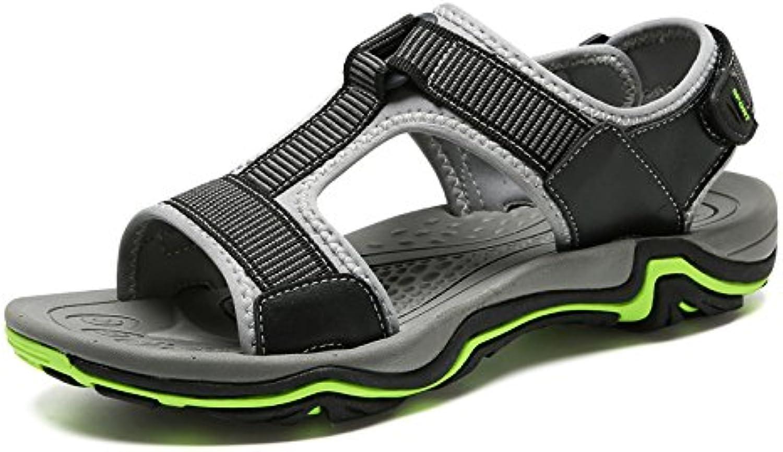 LYZGF Männer Jugend Casual Outdoor Strand Hausschuhe Mode Breathable Echtem Leder Sandalen