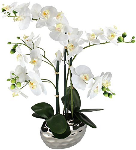 Kunstpflanze Orchidee XL mit Keramiktopf - ca. 53cm hoch (weiß)