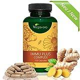 Difese Immunitarie Vegavero | Completamente NATURALE | Sistema immunitario – Influenza - Raffreddore | SENZA ADDITIVI | 120 capsule | Vegan, privo di Glutine e Lattosio