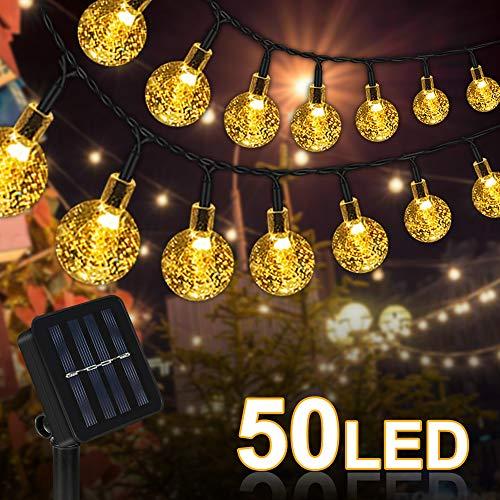 Solar Lichterkette Außen mit LED Kugel 50 LED, Solar Lichterkette Kristall Kugeln Außerlichterkette Deko für Garten, Terrasse, Party, Weihnachten, Innen und außen [Energieklasse A ]
