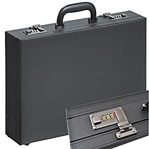 Valise Mallette Attaché-Case en simili-cuir Noir attaché avec des expansion plis