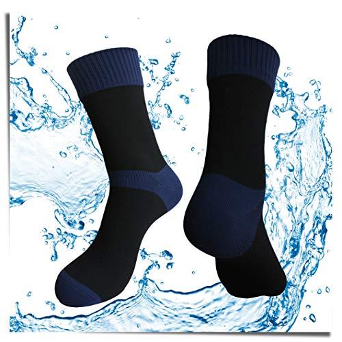 Highcamp SGS zertifizierte wasserdichte Socken für Herren und Damen - Coolmax/Kupferkissen Crew Radfahren, Laufen, Wanderstiefel Socken, Copper - Navy, Medium