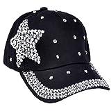 Elodiey Unisex Schirmmütze Herren Damen Mode Hut Shaped Strass Star Outdoor Casual 20er Jahre Sport Sunscreen Kappe Basecap (Color : Schwarz, Size : One Size)