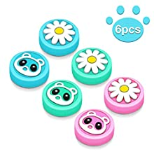 6PCS Silicone Switch Thumb Grip Set, 6amLifestyle Cute Flowers Bear Joystick Joy-con Thumb Grip Caps Soft Silicone Thumb Stick Cover for Nintendo Switch & Lite Joy-con …