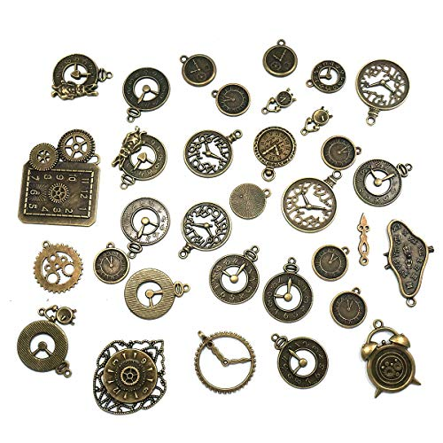 YXJD 100 Gramm Metall Anhänger Retro Pendant Uhren Wecker mit zufälligen Formen für Halskette Schmuckherstellung DIY Deko 2-5cm