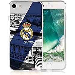 Funda Real Madrid Gel silicona Carcasa + Regalo Protector Cristal Templado para iPhone 7