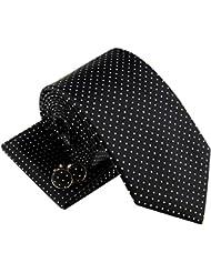 Moderno Mini Tejido de lunares Hombre Corbata Corbata W/Bolsillo Cuadrado y gemelos Set de regalo