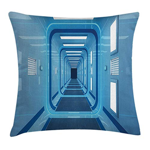 JIEKEIO Outer Space Decor Throw Pillow Cushion Cover by, Square Shaped Trippy Gate in Space Shuttle Exit and Enter Destination, Decorative Square Accent Pillow Case, 18 X 18 Inches, Light Blue