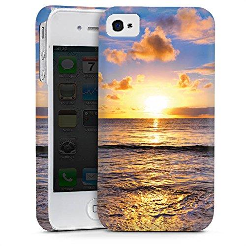 Apple iPhone 4 Housse Étui Silicone Coque Protection Coucher de soleil Mer Nuages Cas Premium mat