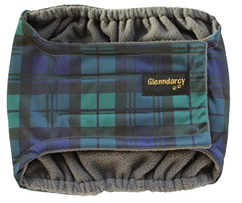 Glenndarcy Male Dog Belly Band - Urine Incontinence - Black Watch Medium Band & 2 Washable Pads